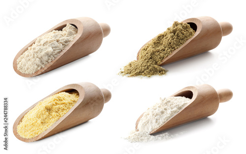 Set of organic flour in wooden scoops on white background