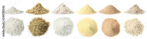 Poster Graine, aromate Heap of wheat flour on white background