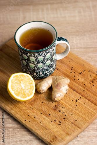 Fototapeta Tea with lemon and ginger obraz