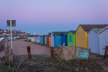 Beach Huts In Hastings Beach In South England