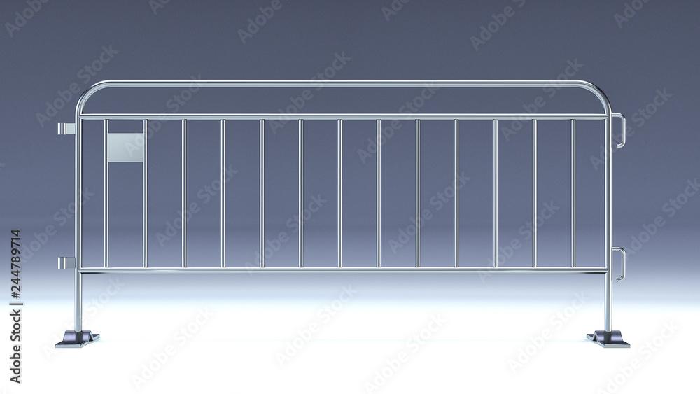 Fototapeta crowd barrier, fan divider, temporary metal security barrier mockup, 3d render isolated