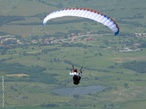 Paraglider flying from Sopot in Bulgaria