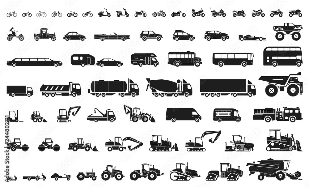 Fototapeta Set of various transportation and construction machinery. Icons of Motorcycles and bicycles, cars, heavy trucks, Heavy-duty vehicles and buses.