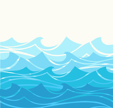 Blue Water Sea Waves Abstract Vector Background. Water Wave Curve Background, Ocean Banner Illustration