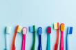 Leinwandbild Motiv Colorful toothbrushes.