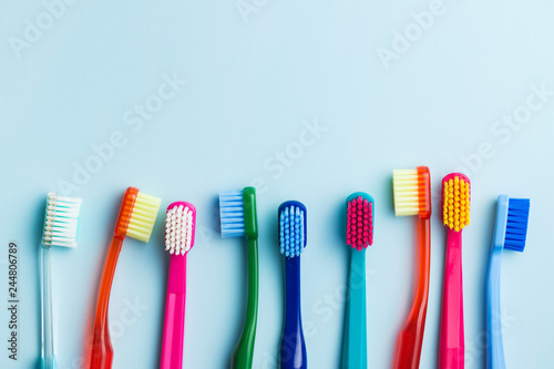 Colorful toothbrushes. Canvas-taulu