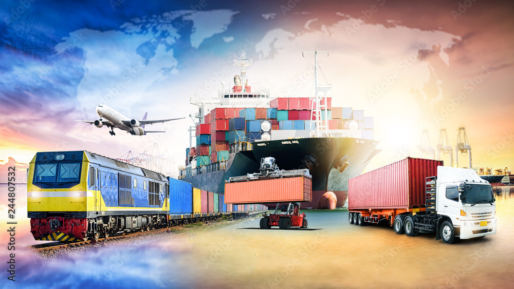 Fototapety, obrazy: Global business logistics import export background and container cargo freight ship transport concept
