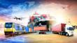 Leinwandbild Motiv Global business logistics import export background and container cargo freight ship transport concept