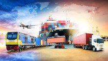Global Business Logistics Import Export Background And Container Cargo Freight Ship Transport Concept