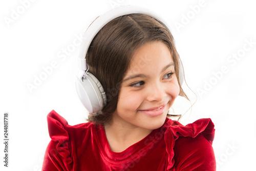 Girl little child use music modern headphones  Listen for free new