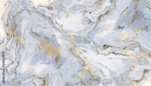 Canvas Print White curly marble