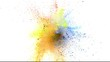 Super slowmotion shot of color powder explosions isolated on white background.