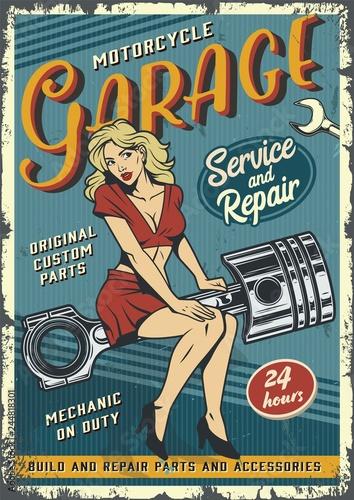 Photo  Retro garage service colorful poster