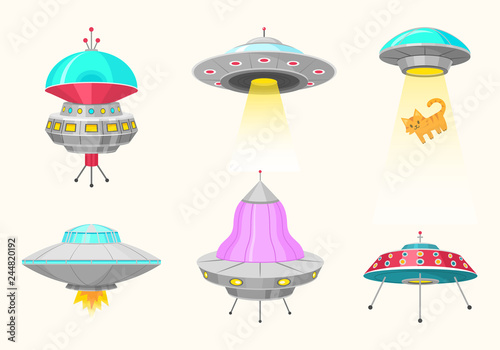 Fotografia  Alien spaceships, set of UFO unidentified flying object, Fantastic rockets, Cosmic spacecrafts in universe space