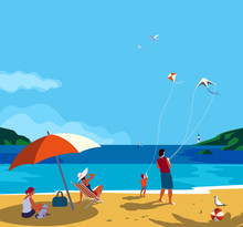 Family Seaside Leisure Relax