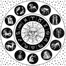 Zodiac Wheel. Astrology Horoscope With Circle, Sun And Signs. Calendar Template On Black Background. Collection Outline Animals. Poster Or Banner, Label Or Sticker. Engraved Hand Drawn Vintage Sketch.