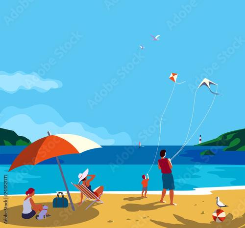 Cuadros en Lienzo Family seaside leisure relax