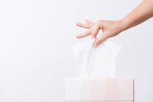 Healthcare Concept. Woman Hand Picking White Tissue Paper From Tissue Box.