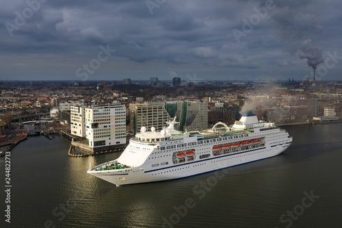 Large cruise ship in the harbor of Amsterdam, Netherlands Canvas Print