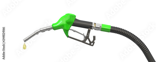 Fotografía Green filling pistol (petrol pistol or oil dispenser) and a drop of petrol