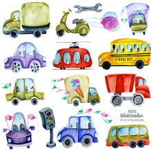 Watercolor Cars And Elements C...
