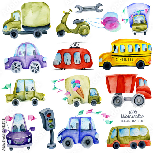 Watercolor cars and elements collection, illustration for kids