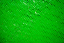 Green Woven Or Weave Straw Texture Background. Basket Weave Seamless Pattern.