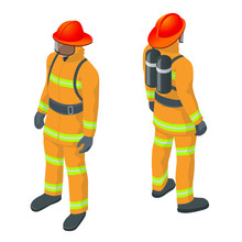 Isometric Fireman Vector Illustration. Under Danger Situation All Firemen Wearing Firefighter Suit For Safety.