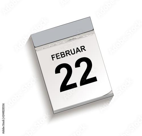 Fotografia  Kalender Februar 22, Abreißkalender mit Datum, Vektor Illustration isoliert auf