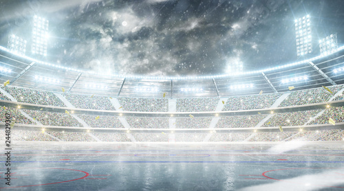 Ice hockey arena. Outdoor winter stadium. Night rink. Snowfall at the stadium