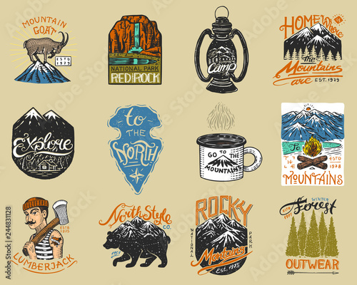 Fototapeta Camping logo and labels. Mountains and lumberjack, brown bear, mountain goat, pine trees. Trip in the forest, outdoor, adventure is waiting. Colored badges on the chalkboard. Hand drawn vintage pins. obraz