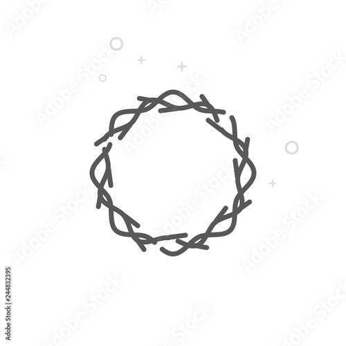 Valokuva  Crown of Thorns Vector Line Icon, Symbol, Pictogram, Sign