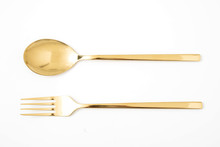 Golden Spoon And Fork Isolated...