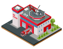 Modern Isometric Fire Station Building Vector Illustration