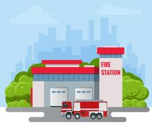 Modern Fire Station Building Vector Illustration. Fire Department.