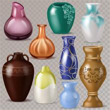 Vase Vector Decorative Classic Pot And Decor Modern Pottery Elegance Vases Illustration Set Of Ceramic Beautiful Glass Jar Isolated On Transparent Background