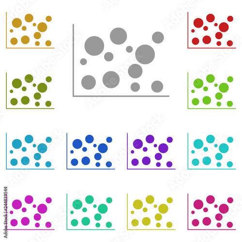bubble chart icon in multi color  Simple glyph, flat vector