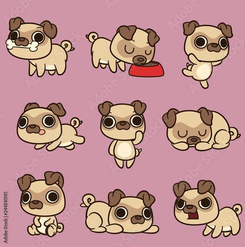 Photo Cute kawaii cartoon pug in different poses