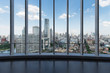 large windows with modern cityscape
