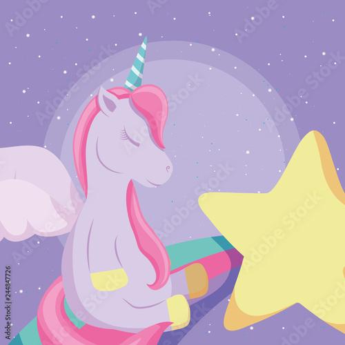 Keuken foto achterwand Draw cute unicorn design