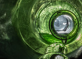 Green Glass Bottle Dripping Wet