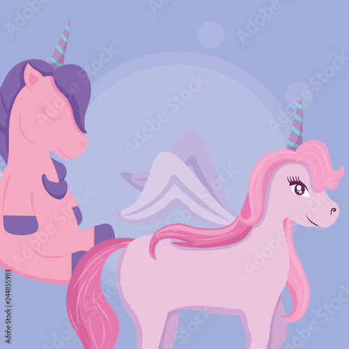 Wall Murals Fairytale World Cute unicorn design