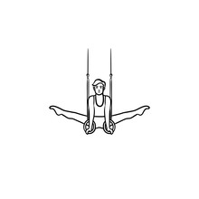 Gymnast Doing Split On Rings Hand Drawn Outline Doodle Icon. Athletic Sportsman, Professional Gymnast Concept. Vector Sketch Illustration For Print, Web, Mobile And Infographics On White Background.