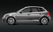 Metallic Grey Hatchback Car