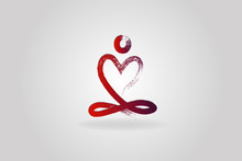 Yoga Man Love Heart Logo Icon