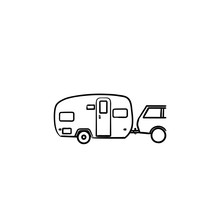 Camper And Car Hand Drawn Outl...