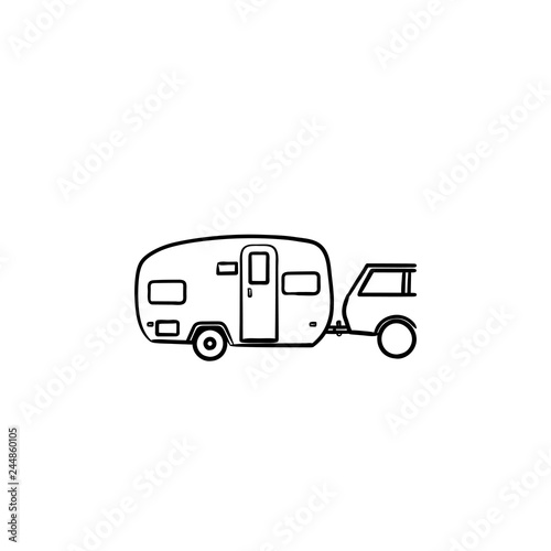 Camper and car hand drawn outline doodle icon Canvas Print