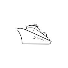 Sea Cruise Ship Hand Drawn Out...