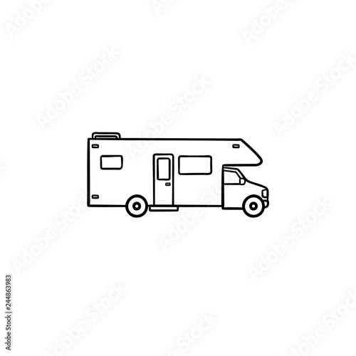 Leinwand Poster Recreational vehicle hand drawn outline doodle icon
