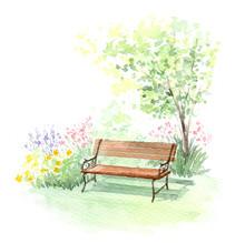 ベンチ ガーデン 水彩画